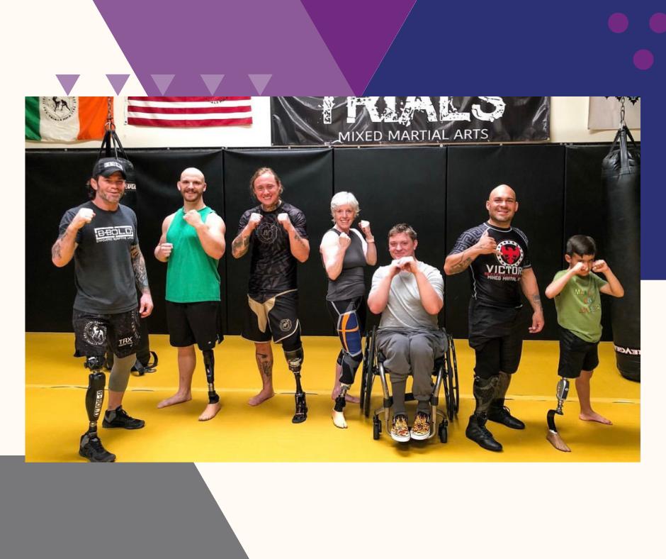 Amputee athletes at a jiu jitsu competiton